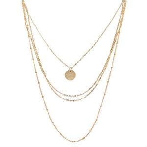 Multi layer gold chain necklace w coin medallion